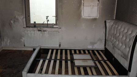 Walls were badly damaged throughout the house