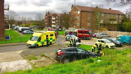 The scene of the collision (Picture: @MPSBarkDag)