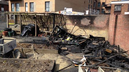 The garden in Northbury Primary School, Barking, went up in flames shortly after midnight on Friday