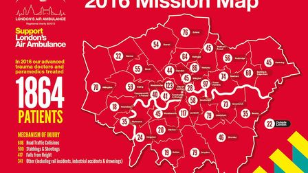 London's Air Ambulance has released information about the number of people it treated in each boroug