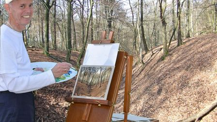 Witten artist Pat Harrison (real name Rainer Hillebrand) painting in Germany.