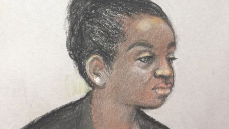 Court artist sketch by Elizabeth Cook of Agnes Reeves Taylor, the ex-wife of former Liberian preside