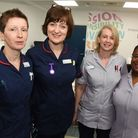 Elizabeth Phillips, Mary Brennan, Emma Finlayson and Isata Barry photographed at King George Hospita