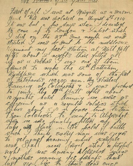 The first page of the manuscript memoir of John Perren, a soldier who fought in the First World War.
