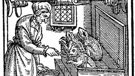 An image of a witch and her familiar spirits taken from a publication that dealt with the witch tria