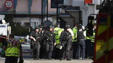 Armed police close to Parsons Green station in west London after an explosion on a packed London Und