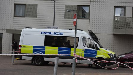 Police at a block of flats in Kings Road in Barking in the wake of the terror attack on London Bridg