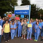 Staff protesting about the contract supplying sterilising equipment being given to a company in Maid