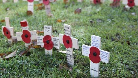 Remembrance poppies laid at the Hornchurch War Memorial