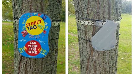 A Street Tag box on a tree in Mayesbrook Park and right, after it was stolen (Picture: Seun Oshinaik
