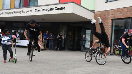 British Champion stunt bike performers in action at the launch of Biking Riverside at the Barking Ri