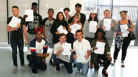 Eastbrook School pupils with their GCSE results