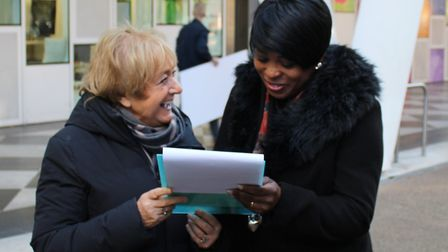 Margaret Hodge gathers signatures for her petition. Picture: Tom Horton