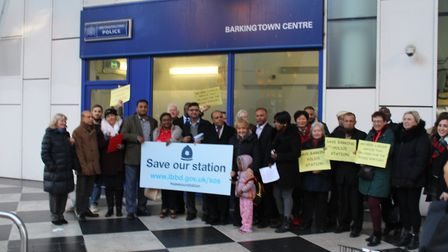 Supporters gather to protest against the counter closure. Picture: Tom Horton