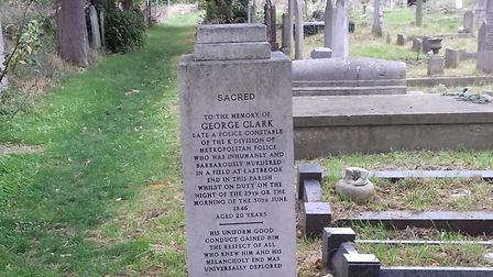 The monument to George Clark, a policeman who was murdered at Eastbrook End in 1846. His killer was