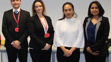 Moot Champions Max and Sarah and students Darakshaan and Elise. Picture credit: BDC
