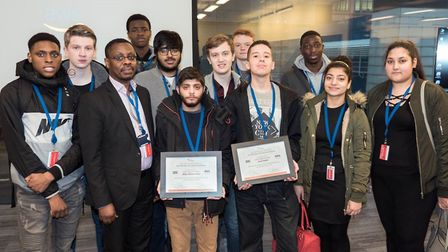 Barking and Dagenham College students at Amazon HQ. Picture: Barking and Dagenham College