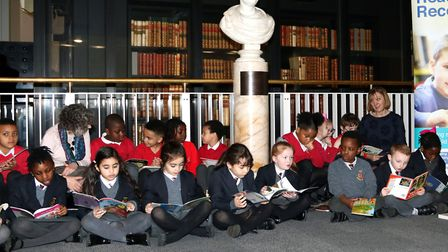 Year One pupils from Grafton Primary were given the chance to read at the British Library Picture: S