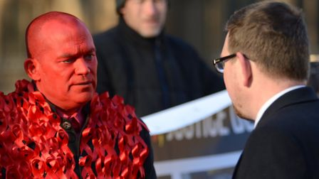 Tony Farrugia (left) at a protest outside Parliament over the contaminated blood scandal in 2016. Pi