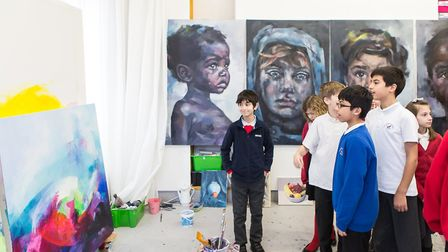 Pupils taking a tour of Bow Arts' studios, IceHouse Court, in Barking Picture: Rob Harris