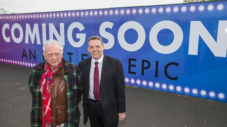 Photographer David Bailey, left, with Darren Rodwell at the site of the new studios. Picture: LBBD