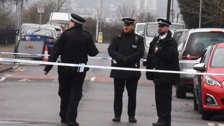Police on the scene near Nash Road, Chadwell Heath. Picture: Ken Mears