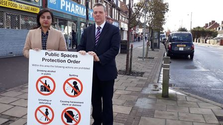 Cllr Laila Butt with council leader Darren Rodwell launch the PSPO. Picture: LBBD