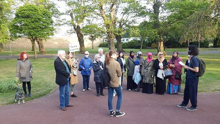 Trainees delivering walking tours in Barking Park. Picture: Judith Garfield