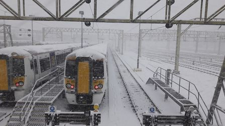 Trains face severe disruption after heavy snow fell across London overnight. Photo: c2c