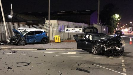 Multiple people injured, including children at a high speed collision on Thames Road, Barking. Pictu