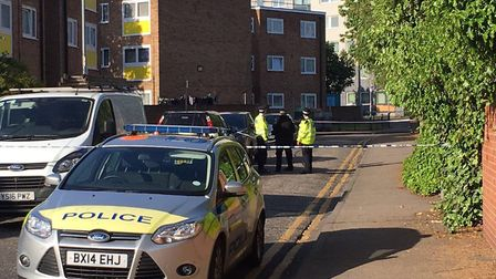 Police at the scene in Crows Road this morning.