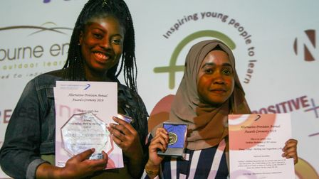 Fathiya Mohamed and Cynthia Adebayo with their awards. Picture: Kate Bishop
