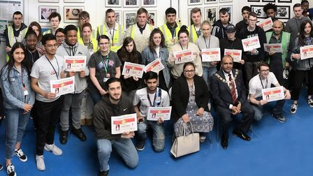 The mayor visited Barking and Dagenham College to present the staff and students involved in the pro