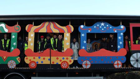 Barking and Dagenham College students with their float for London's New Year's Day Parade.