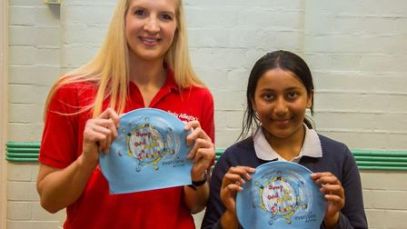 Becky Adlington with competition winner Ayishah Ahmed. Picture: Everyone Active