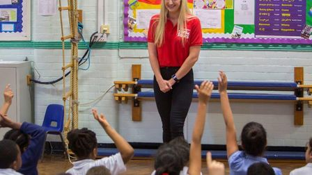 Becky Adlington leads the assembly at Northbury Primary School. Picture: Everyone Active