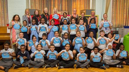Pupils and teachers at Northbury primary School with Becky Adlington. Picture: Everyone Active