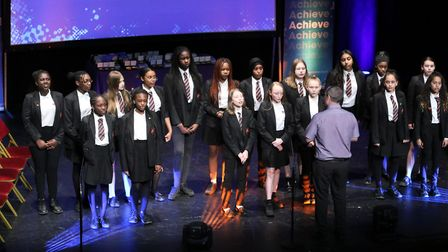 A choir from Eastbury Community School started off the ceremony. Pic: JPF