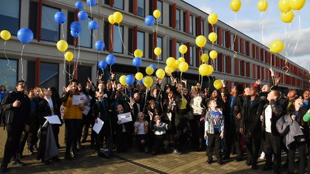 Pupils at Dagenham Park School releasing balloons to celebrate a successful week of their anti-bully