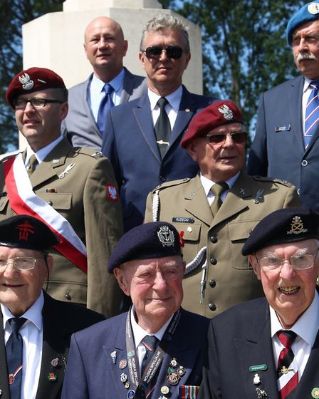 John with other veterans at Cassino War Cemetery. Picture: Carl Allen/Big Wave PR