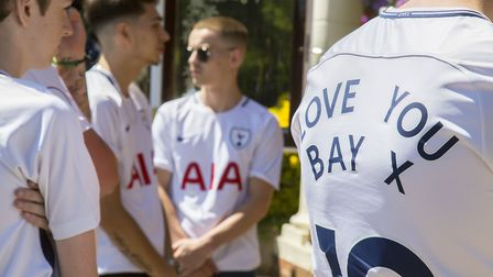 Mourners wore Spurs shirts. Pic: Ellie Hoskins