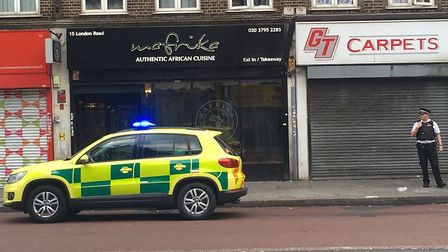 Emergency services at the scene of the stabbing in London Road