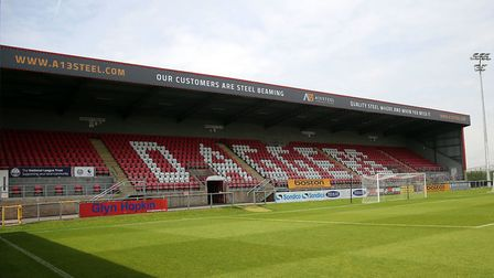 A generic view of the A13 Steel Stand at Victoria Road, the home of Dagenham & Redbridge (pic: David