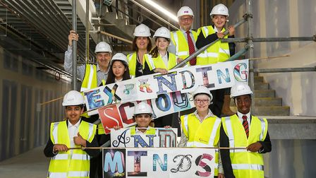 Cllr Evelyn Carpenter visits Barking Abbey School. Picture: Be First