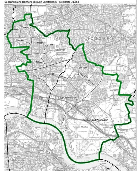 How the Dagenham and Rainham constituency would look. Pic: ONS