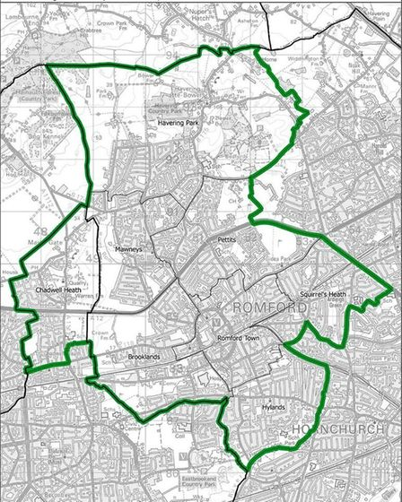 How the Romford constituency would look. Pic: ONS