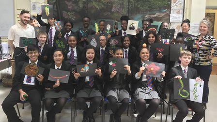 Students from All Saints Catholic School who took part in the Rivers of the World project, with art