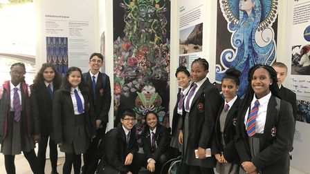 The pupils seeing their final piece of art on public display at the Oxo Gallery. Picture: All Saints