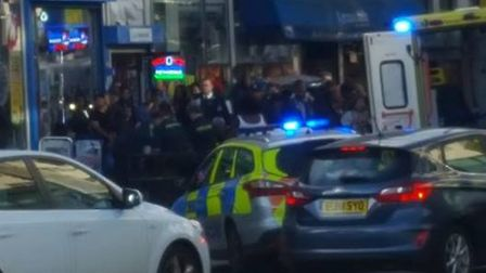 Police at the stabbing in Dagenham. Pic: Arther Sleep.