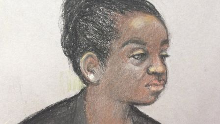 Court artist sketch of Agnes Taylor, the ex-wife of former Liberian president Charles Taylor, appear